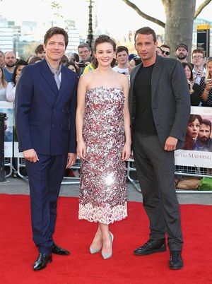 "LONDON, ENGLAND - APRIL 15:  (L-R) Director Thomas Vinterberg, actress Carey Mulligan and actor Matthias Schoenaerts attend the World Premiere of ""Far From The Madding Crowd"" at BFI Southbank on April 15, 2015 in London, England.  (Photo by Chris Jackson/Getty Images)"