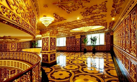 This updated photo received on September 7, 2011 shows the luxury interior decoration of the office building, containing three floors of offices and three more floors of a print museum belonging to the state-owned Harbin Pharmaceutical Group Sixth factory in Harbin, in northeast China's Heilongjiang province. The state-owned drug firm in China has caused online outrage for allegedly building offices that appear to mimic France's Versailles palace, complete with gold-tinted walls and chandeliers.    CHINA OUT AFP PHOTO (Photo credit should read STR/AFP/Getty Images)