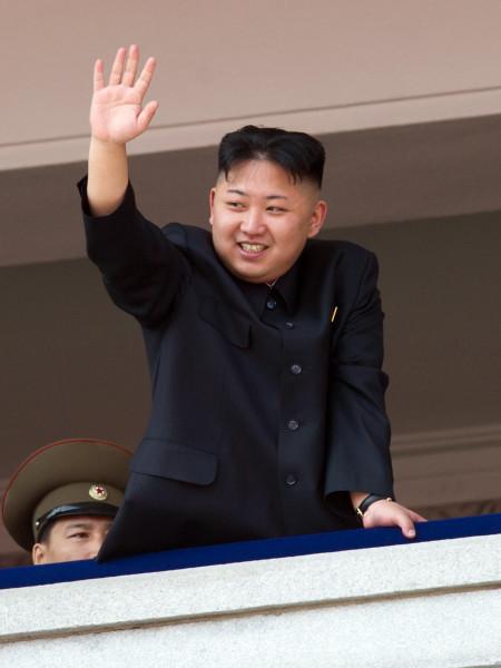 North Korean leader Kim Jong-Un waves af