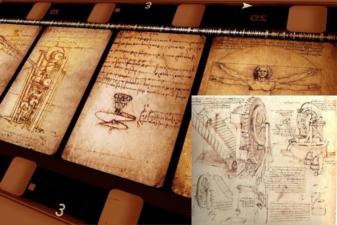 Рисунки Леонардо да Винчи. (Shutterstock *) Внизу справа: Подъёмные устройства Леонардо да Винчи. (Sailko via wikimedia commons)