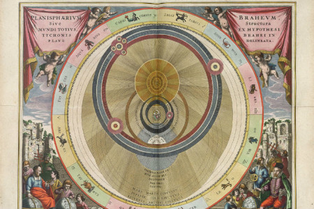 Гео-гелиоцентрическая модель Тихо Браге. (Hochgeladen von Micheletb via Wikipedia)