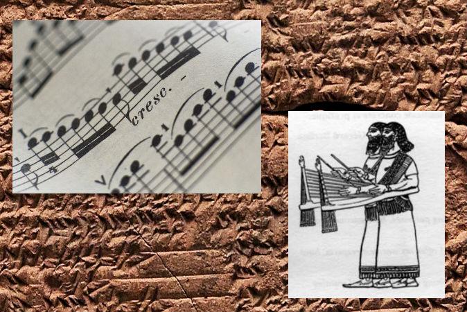 Справа: древний вавилонский сантур — на похожем инструменте мог исполняться хурритский гимн. Фото: Wikimedia Commons Слева: ноты (Thinkstock) Фон: клинопись. Фото: Shutterstock *