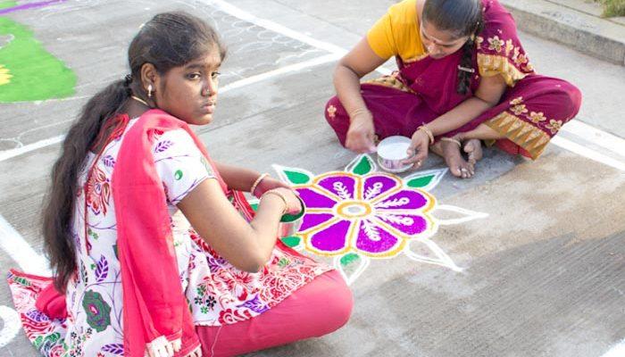Индия. Рисунки колам