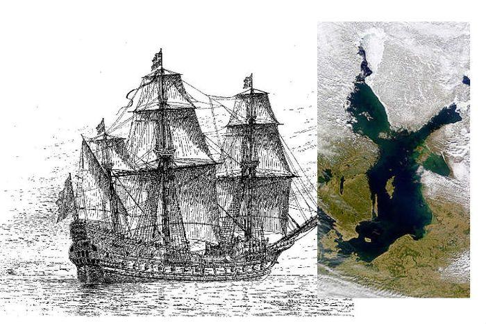 Слева: рисунок шведского военного корабля «Марс», также известного как Makalös (бесподобный), который был построен в 1563-1564 гг. Автором проекта являлся Яков Хагг. Справа: Балтийское море, где корабль затонул. Фото: Wikimedia Commons