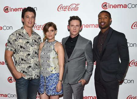 "LAS VEGAS, NV - APRIL 23:  (L-R) Actors Miles Teller, Kate Mara, Jamie Bell and Michael B. Jordan, recipients of the Ensemble Award for ""Fantastic Four,"" attend The CinemaCon Big Screen Achievement Awards brought to you by the Coca-Cola Company at Omnia Nightclub at Caesars Palace during CinemaCon, the official convention of the National Association of Theatre Owners, on April 23, 2015 in Las Vegas, Nevada.  (Photo by Ethan Miller/Getty Images for CinemaCon)"