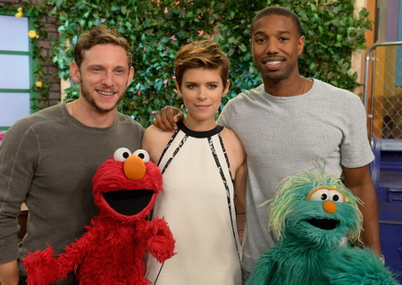 "MIAMI, FL - JULY 31:  Jamie Bell, Kate Mara, Michael B. Jordan are seen Sesame Street characters Elmo and Rosita on the set of Despierta America to promote the film ""Fantastic Four"" at Univision Studios on July 31, 2015 in Miami, Florida.  (Photo by Gustavo Caballero/Getty Images)"
