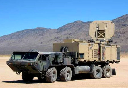 An operational version of the Active Denial System is shown. It is an invisible, counter personnel, directed-energy weapon. (U.S. Air Force photo)