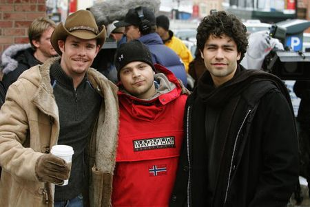 PARK CITY, UTAH - JANUARY 27:  Actors Kevin Dillon, Jerry Ferrara and Adrian Grenier film an episode of Entourage for HBO on Main Street during the 2005 Sundance Film Festival on January 27, 2005 in Park City, Utah. (Photo by Frazer Harrison/Getty Images)