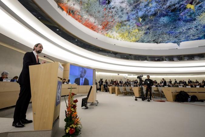Верховный комиссар ООН по правам человека Зейд Раад аль-Хуссейн выступает на открытии сессии совета по правам человека 2 марта 2015 года. Фото: Fabrice Coffrini/AFP/Getty Images