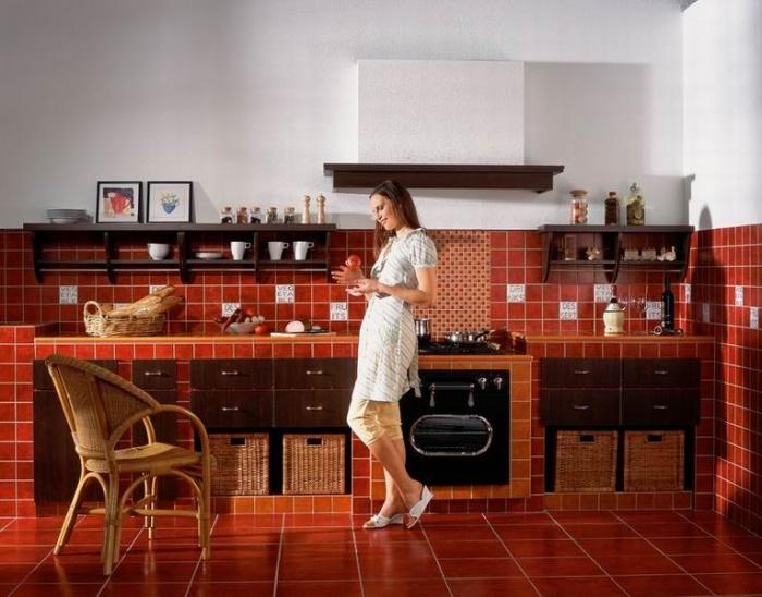 Керамическая плитка на кухне. Фото: moole.ru