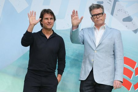 TOKYO, JAPAN - AUGUST 02:  Tom Cruise and Christopher McQuarrie attend the Japan Press Conference of 'Mission: Impossible - Rogue Nation' at the Peninsula Hotel Ballroom on August 2, 2015 in Tokyo, Japan.  (Photo by Yuriko Nakao/Getty Images for Paramount Pictures International)