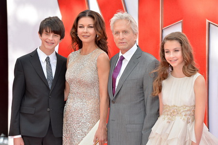 "LONDON, ENGLAND - JULY 08:  Catherine Zeta Jones and actor Michael Douglas with their children Dylan and Carys as they attend the European Premiere of Marvel's ""Ant-Man"" at the Odeon Leicester Square on July 8, 2015 in London, England.  (Photo by Anthony Harvey/Getty Images)"