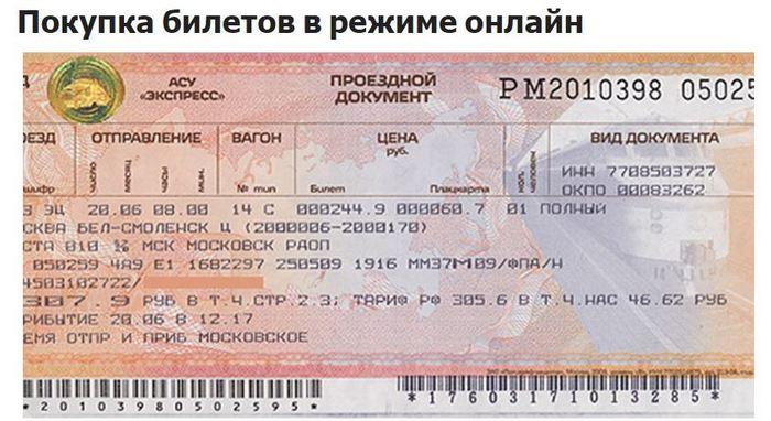 Скриншот билета РЖД.