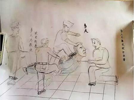 Одна из иллюстраций Лю Жэнвана о пытках, которым его подвергли во время допроса в полиции. Фото с epochtimes.com