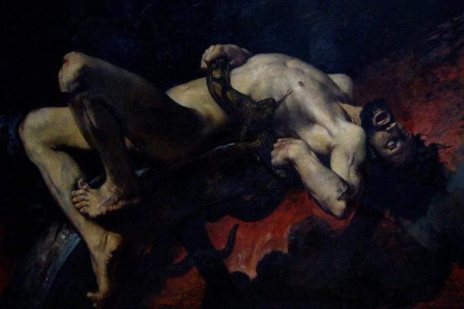 «Наказание Иксиона». Картина Жюль-Эли Делоне, XVII век. Иксиона привязали к горящему быстро вращающемуся колесу за убийство отца жены и многие другие злодеяния. Фото: Public Domain