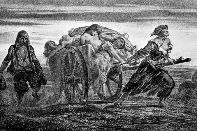 Телегу, заваленную телами жертв чумы, тащит женщина в лохмотьях. Литография из коллекции Duveau. Фото: Wikimedia Commons