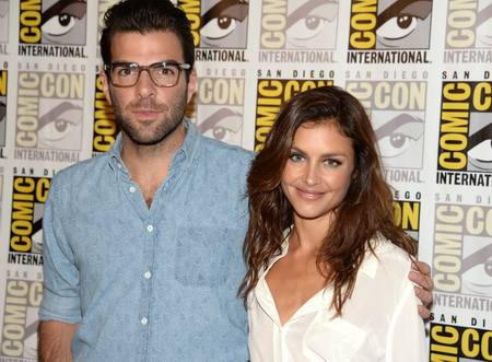 "Actors Zachary Quinto (L) and Hannah Ware pose on the press line for 20th Century Fox's ""Hitman: Agent 47"", on the second day of the 45th annual Comic-Con, in San Diego, California July 25, 2014.  ""Hitman: Agent 47"", a motioin picture about an elite and genetically engineered assassin, is based on the video game ""Agent 47."" ""Hitman: Agent 47"" is scheduled for release on February 27, 2015.   AFP PHOTO / ROBYN BECK        (Photo credit should read ROBYN BECK/AFP/Getty Images)"