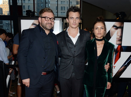 "NEW YORK, NY - AUGUST 13:  Director Aleksander Bach poses with actors Rupert Friend and Hannah Ware at the New York premiere of ""Hitman Agent 47"" at AMC Empire 25 theater on August 13, 2015 in New York City.  (Photo by Ben Gabbe/Getty Images)"