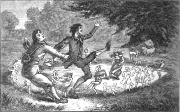 Вовлечённые в ведьмин круг, иллюстрация к книге T.H. Томаса, 1880 г.