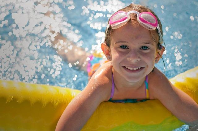 дети, девочка, бассейн, плавание