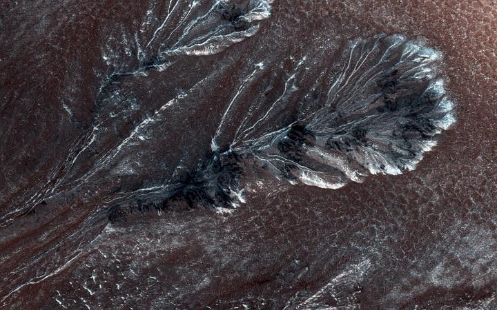 Снег на северных равнинах Марса. Фото: nasa.gov