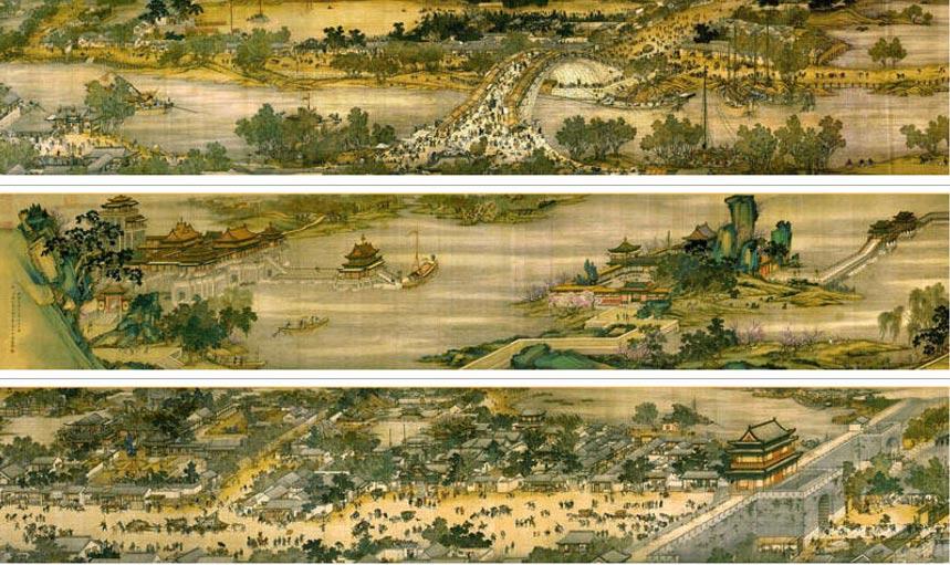 Детали живописного свитка «Вдоль реки во время фестиваля Цинмин», копия XVIII века. Фото: Wikipedia