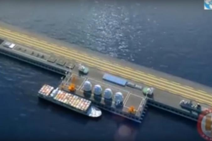 Концепция «Очень больших плавучих структур» (VLFS) показана в китайском ролике, который поместил онлайн журнал о военной промышленности Navy Recognition. База была представлена на недавней выставке  достижений оборонной промышленности в Пекине. Фото: YouTube screenshot