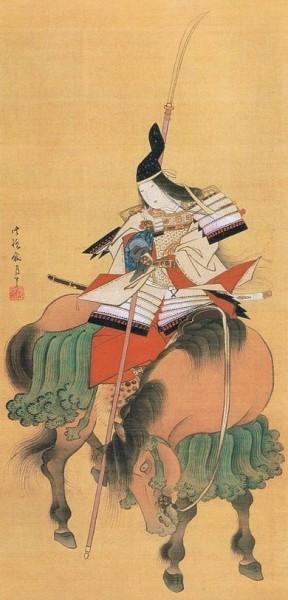 Женщина воин Томоэ Годзен, рисунок на шёлке, Токийский национальный музей.