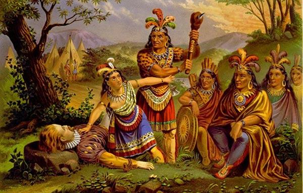 «Покахонтас спасает Джона Смита», картина работы Алонзо Чаппела, примерно 1865 год. Фото: Wikimedia