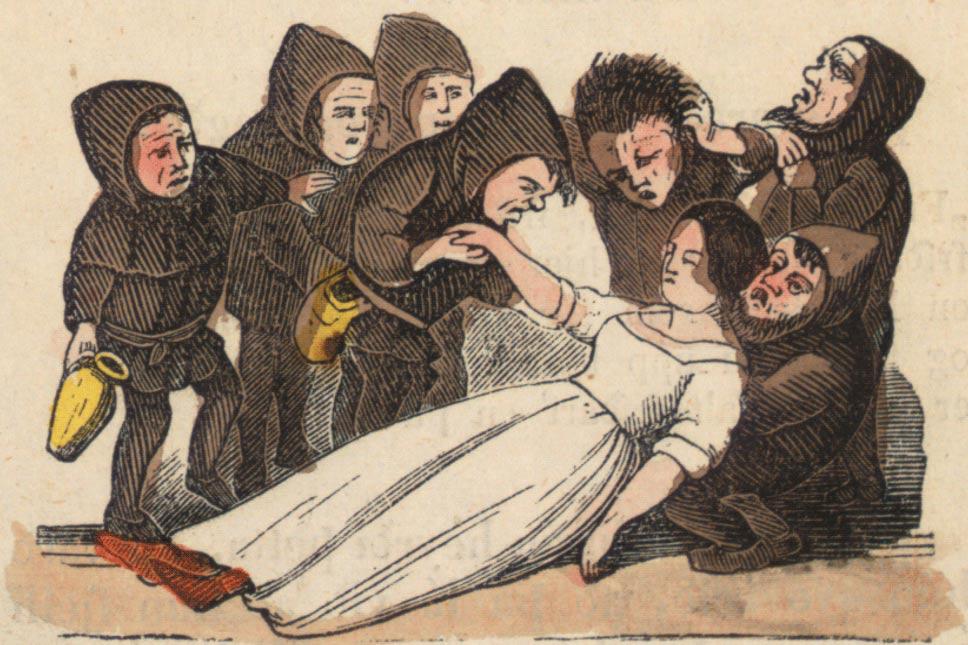 Иллюстрация (1852 г.) к исландской версии сказки братьев Гримм «Белоснежка и семь гномов». Фото: Wikimedia Commons