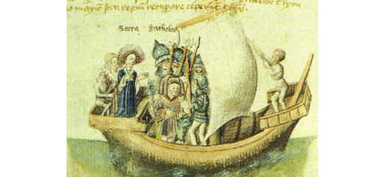 Скота уплывает из Египта. Иллюстрация XV века. Фото: Wikimedia Commons