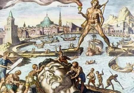 Колосс Родоский, изображённый на этой ручной цветной гравюре