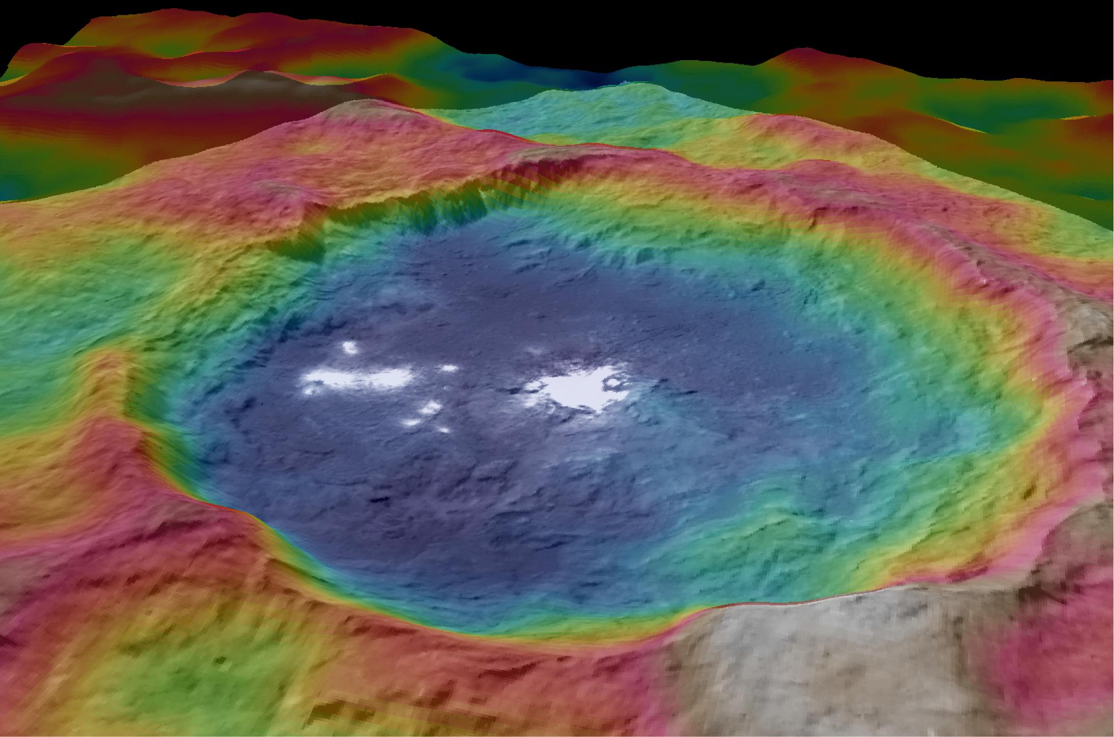 Кратеры и белые пятна Церере. Фото: NASA