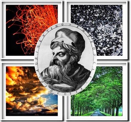 Эмпедокл. Ксилография. (Фото: CC BY 4.0) и четыре элемента/корня. (Фото: Carl Milner/Flickr)