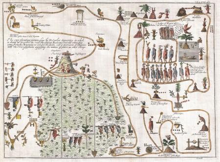 Необычная карта 1704 года, нарисованная Джованни Франческо Джемелли Careri. Первая публично опубликованная версия легендарной миграции ацтеков из Ацтлана. Фото: Public Domain/wikipedia.org