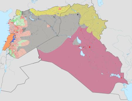 Серым выделена территория Ирака и Сирии, контролируемая ИГИЛ. Фото: BlueHypercane761/wikipedia.org/CC BY-SA 4.0