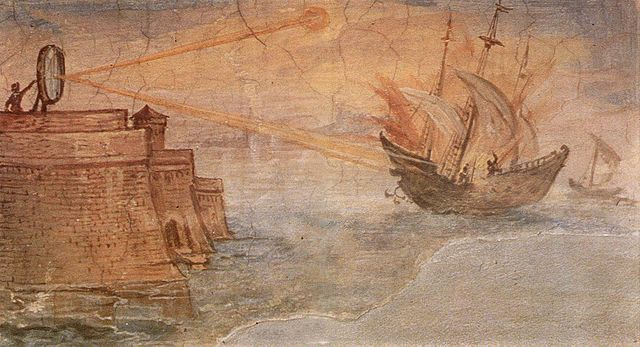 Деталь фрески Джулио Париджи 1599—1600 годов, на которой Архимед с помощью зеркала поджигает корабль. Галерея Уффици, Флоренция, Италия