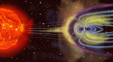 Схема взаимодействия солнечного ветра с магнитосферой Земли. Фото: NASA