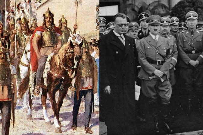 Слева: Аларих, король вестготов, проводит парад по Афинам. Фото: Public domain Справа: Адольф Гитлер в Вене, 1938 год. Фото: German Federal Archives, Public domain
