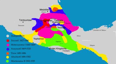 Эволюция территориальных владений ацтеков. Фото: enwiki/Maunus Public domain/wikipedia.org
