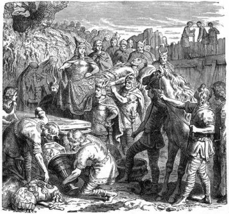 Похороны Алариха у реки Бузенто, гравюра 1895 года, Хайнрих Лейтеманн. Фото: Public domain