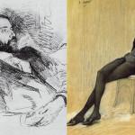 Справа: Гиппиус на портрете Л. Бакста. 1906 год. Слева: Д. С. Мережковский. Портрет работы И. Репина (Около 1900). Фото: Publik Domain/wikipedia.org