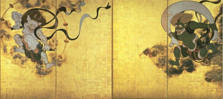 Райдзин и Фудзин, картина Тавараи Сотацу. Райцзин изображён (слева), а Фуцзин ― справа. Фото: Wikipedia