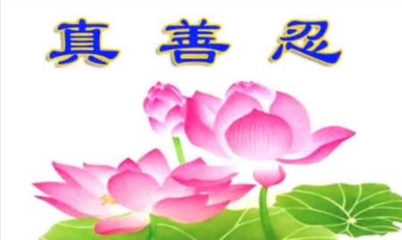 Изображение лотоса и иероглифами «Истина, Доброта, Терпение». За эту картинку 20-летний Ван Душань арестовали и отдали под суд. Фото: New Tang Dynasty Television/Screen shot