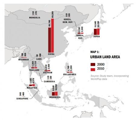 Рост городских территорий в кв. километрах. Фото: World Bank
