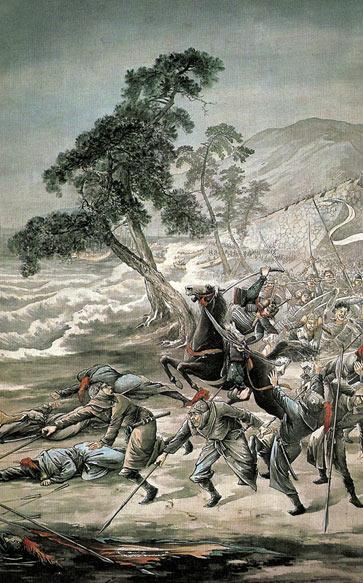 Второе вторжение монголов в Японию. Монголов, выживших во время урагана, на берегу изрубили самураи. Иллюстрация: Yado Issho