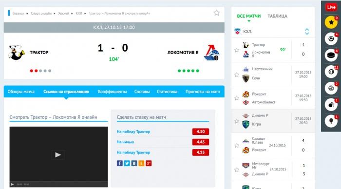 Скриншот с сайта checklive.ru. Трансляция матча
