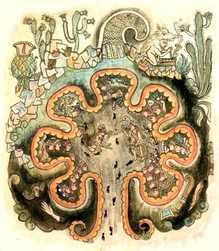 Семь пещер Чикомосток, из Historia Tolteca-Chichimeca. Фото: wikipedia.ru/Public domain