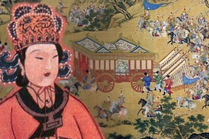Коллаж. У Цзэтянь. Известное произведение искусства, изображающее большой кортеж китайского императора. Фото: Public Domain. CC BY 2.0