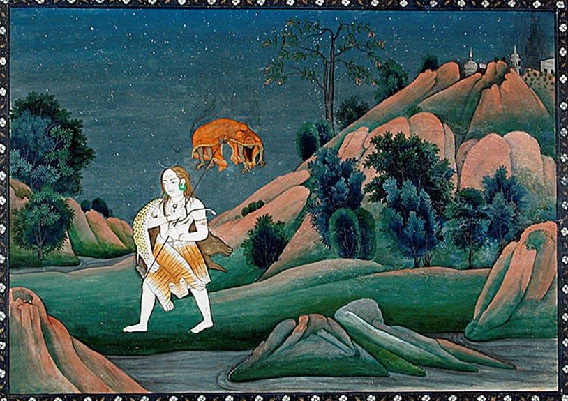 Шива несёт тело Сати на своём трезубце, 1800-е. Фото: Public Domain